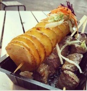 batata espiral com carne